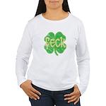 feck shamrock (faded) Women's Long Sleeve T-Shirt
