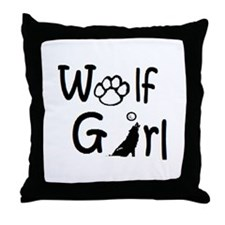 Cute Wolf girl Throw Pillow