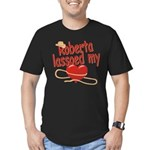 Roberta Lassoed My Heart Men's Fitted T-Shirt (dar
