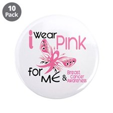 "I Wear Pink 45 Breast Cancer 3.5"" Button (10 pack)"