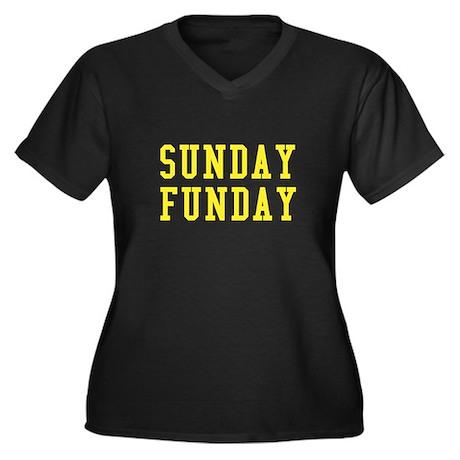 SUNDAY FUNDAY Women's Plus Size V-Neck Dark T-Shir