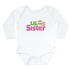 Easter Eggs Little Sister Long Sleeve Infant Bodys
