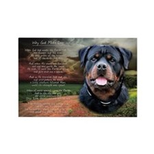 """Why God Made Dogs"" Rottweiler Rectangle Magnet"