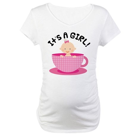 It's A Girl Teacup Baby Maternity T-Shirt