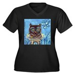owls Women's Plus Size V-Neck Dark T-Shirt