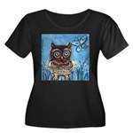 owls Women's Plus Size Scoop Neck Dark T-Shirt