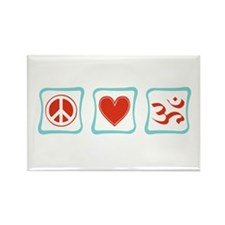 Peace, Love and Hinduism Rectangle Magnet