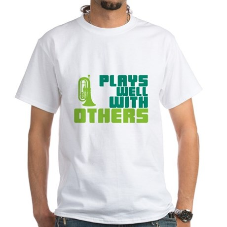 Marching Baritone Plays Well White T-Shirt