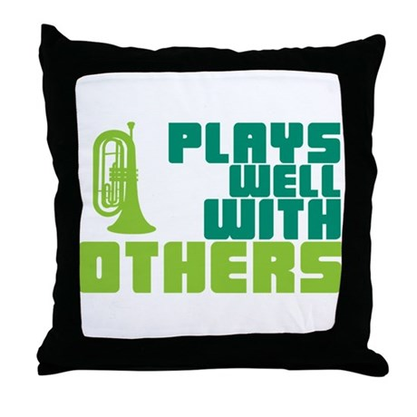 Marching Baritone Plays Well Throw Pillow