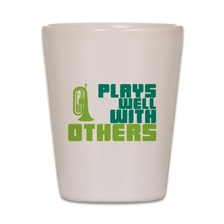 Marching Baritone Plays Well Shot Glass