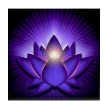 "Purple ""Third Eye"" Chakra Lotus Tile Coaster"