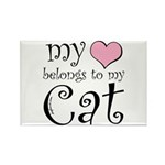 Heart Belongs to Cat Rectangle Magnet (100 pack)