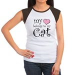 Heart Belongs to Cat Women's Cap Sleeve T-Shirt