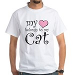 Heart Belongs to Cat White T-Shirt