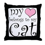 Heart Belongs to Cat Throw Pillow
