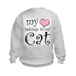 Heart Belongs to Cat Kids Sweatshirt
