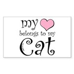 Heart Belongs to Cat Rectangle Sticker