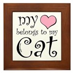 Heart Belongs to Cat Framed Tile