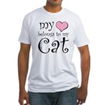 Heart Belongs to Cat Fitted T-Shirt