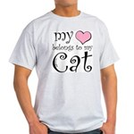 Heart Belongs to Cat Light T-Shirt