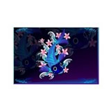 Blue Koi-Pink Flowers Rectangle Magnet (100 pack)