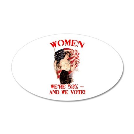 Women 52% and We Vote 22x14 Oval Wall Peel