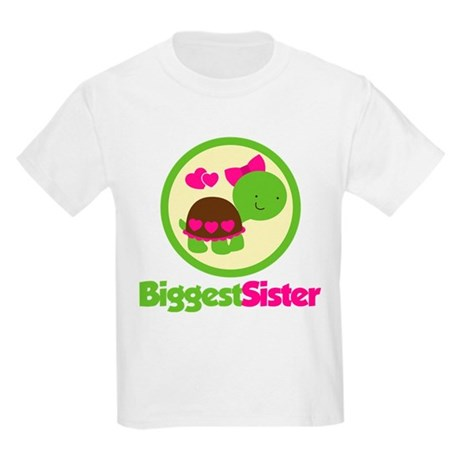 Turtle Biggest Sister Kids Light T-Shirt