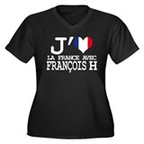 François H Women's Plus Size V-Neck Dark T-Shirt