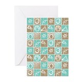 MLT in Blue and Taupe Greeting Cards (Pk of 10)