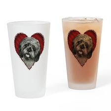Shih Tzu Valentine Drinking Glass