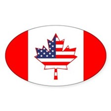 Dual Canada USA Oval Flag Decal