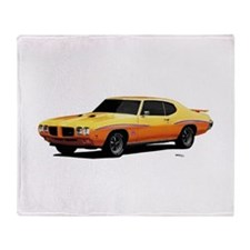 1970 GTO Judge Orbit Orange Throw Blanket