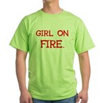 Girl On Fire Green T-Shirt