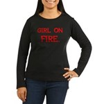 Girl On Fire Women's Long Sleeve Dark T-Shirt