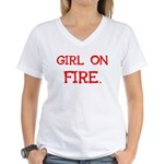 Girl On Fire Women's V-Neck T-Shirt