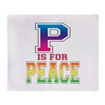 P is for Peace Throw Blanket