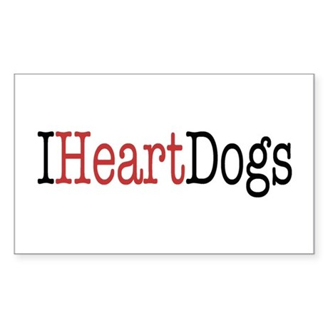 I Heart Dogs Sticker (Rectangle)