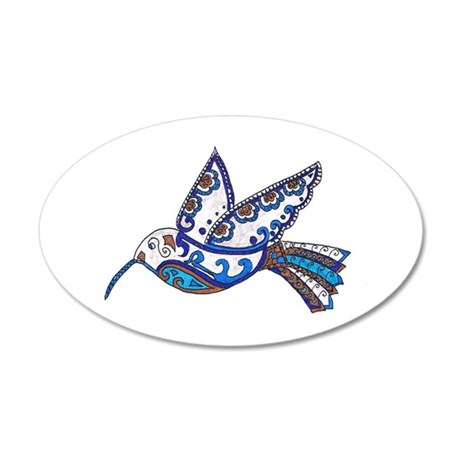 Hummingbird-Slate and Blue 22x14 Oval Wall Peel
