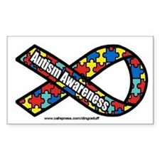 """Autism Ribbon"" Rectangle Decal"