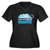 Chance of Brainfog Women's Plus Size V-Neck Dark T
