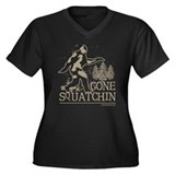 Gone Squatchin Women's Plus Size V-Neck Dark T-Shi