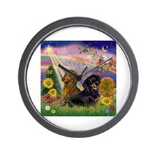 Autumn Angel / Dachshund pair Wall Clock