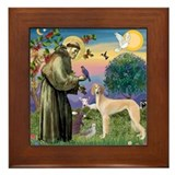 St. Francis &amp; Saluki Framed Tile
