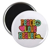 Peace Love Beaver Magnet