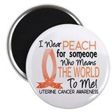 "Means World To Me 1 Uterine Cancer Shirts 2.25"" Ma"