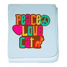 Peace Love Cat baby blanket