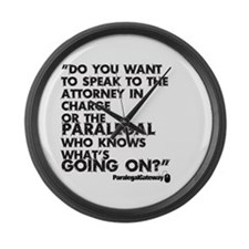 Paralegal In Charge [Text Bla Large Wall Clock