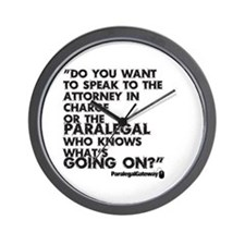 Paralegal In Charge [Text Bla Wall Clock