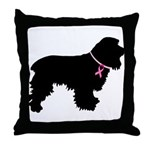 Cocker Spaniel Breast Cancer Support Throw Pillow