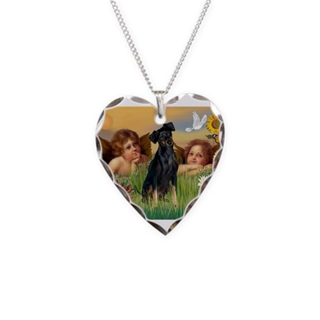 Angels & Min Pinscher Necklace Heart Charm